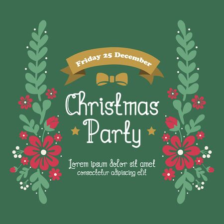 Card template christmas party, with ornate wallpaper green leafy flower frame. Vector illustration