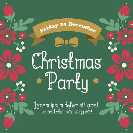 Modern banner christmas party with motif drawing of green leafy flower frame. Vector illustration