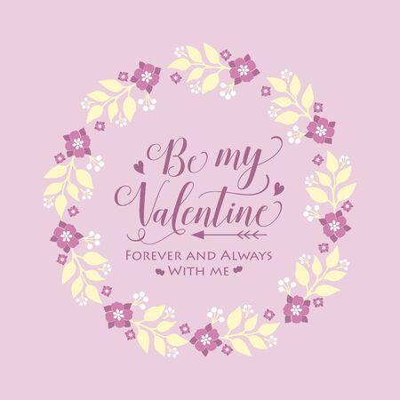 Pattern wallpaper of cards happy valentine, with pink floral frame decoration elegant.Vector illustration Vector Illustratie