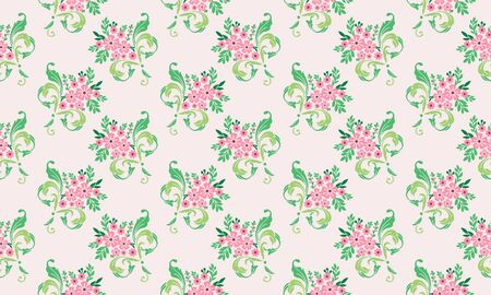 Seamless valentine flower pattern background, with leaf and beautiful flower drawing.