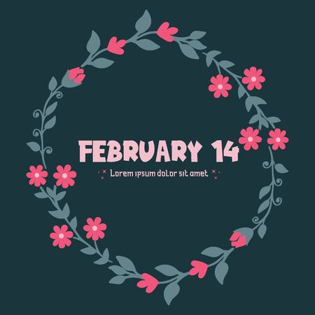 Valentine's Day card template with floral frame
