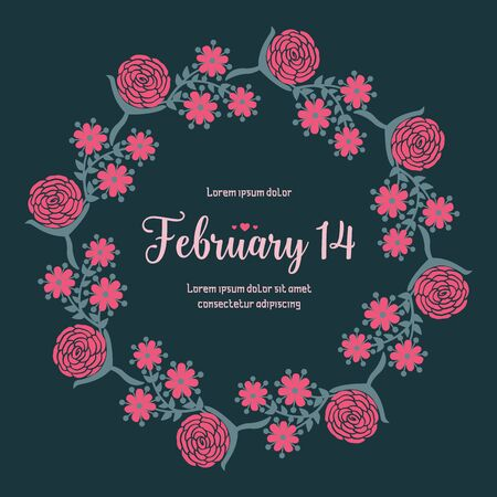 Valentine's Day card template with floral wreath frame 免版税图像 - 148518019
