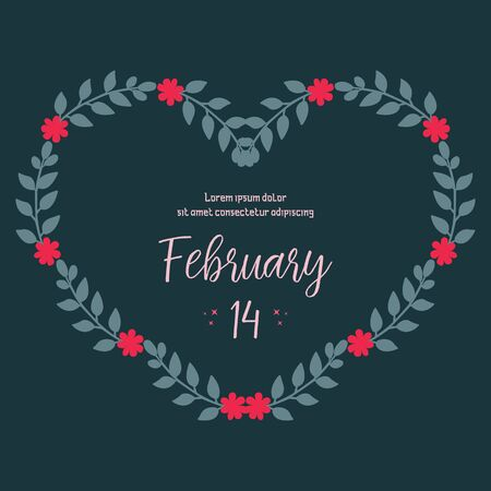 Valentine's Day card template with heart-shaped floral frame