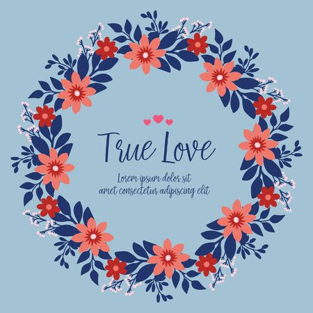 True Love text with floral wreath frame 免版税图像 - 148430349