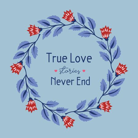 Elegant Design of leaf and floral frame, for romantic true love greeting card design. Vector illustration
