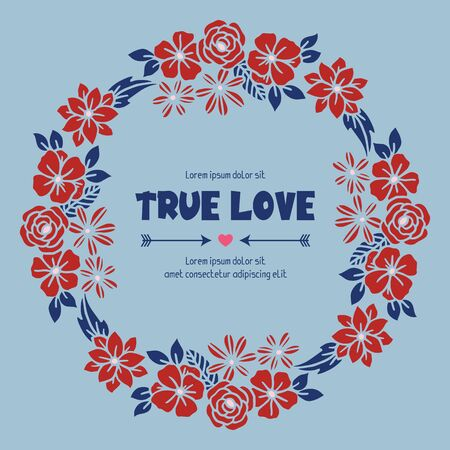 True Love text with floral wreath frame