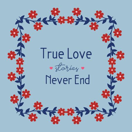 Decoration of leaf and floral frame isolated on blue background, for true love greeting card design. Vector illustration