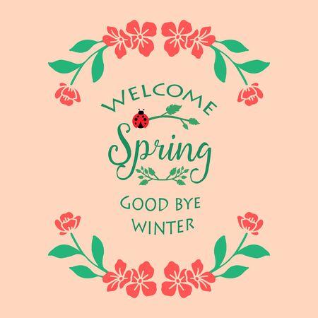 Unique Decoration of leaf and floral frame, for welcome spring greeting card design. Vector illustration