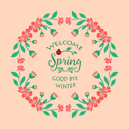 Cute Frame with leaf and beautiful wreath, for welcome spring poster design. Vector illustration