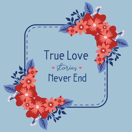 Simple Frame with leaf and seamless wreath, for true love invitation card design. Vector illustration