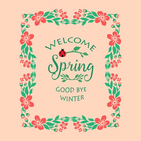 Antique Shape of welcome spring card template, with cute leaf and flower frame. Vector illustration