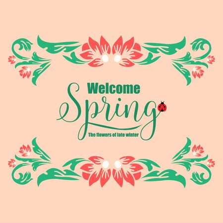 Invitation card wallpapers design for welcome spring, with seamless leaf and flower frame. Vector illustration