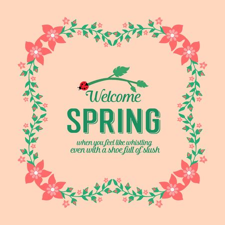 Crowd of red floral seamless frame, for welcome spring greeting card design. Vector illustration