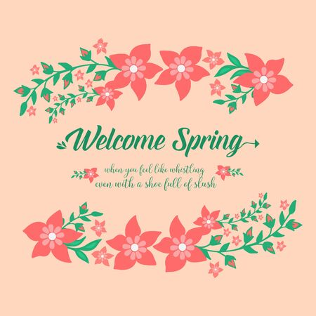 Seamless red wreath frame, for welcome spring greeting card template design. Vector illustration