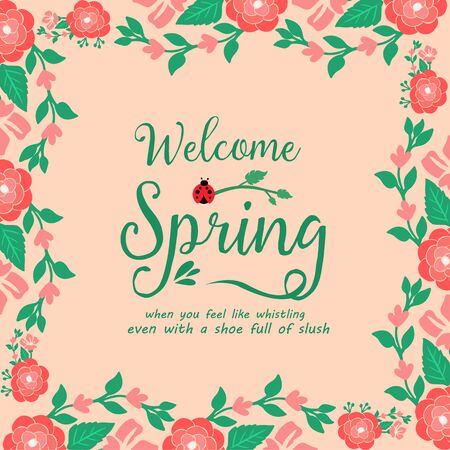 Elegant design style for welcome spring greeting card, with seamless red wreath frame. Vector illustration