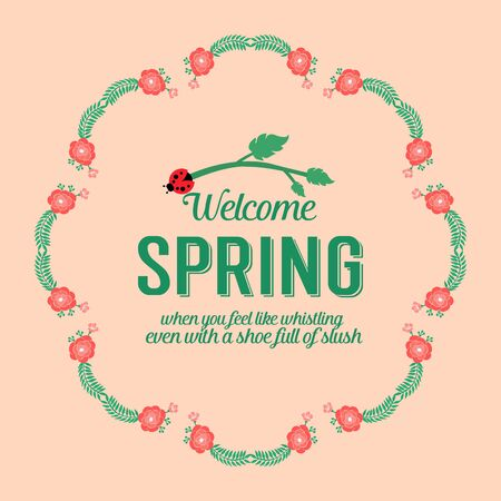 Unique Shape pattern of leaf and floral, for welcome spring elegant greeting card concept. Vector illustration
