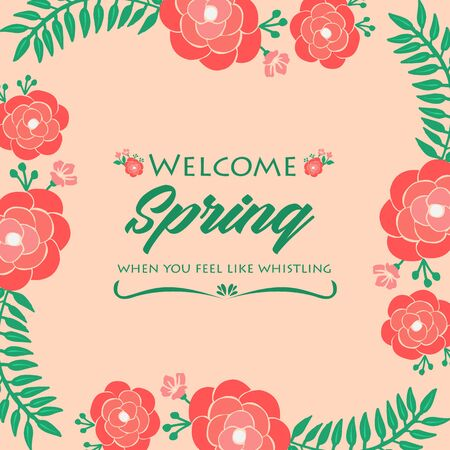 Simple shape Pattern of leaf and red floral frame, for welcome spring greeting card template design. Vector illustration