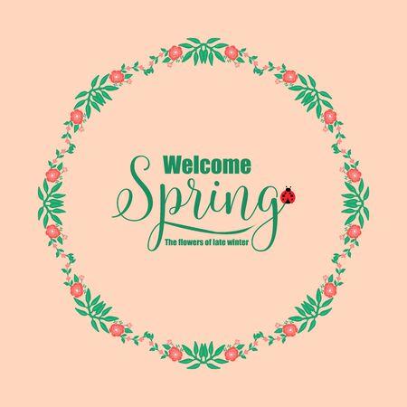 Vintage Shape pattern of leaf and red floral, for welcome spring elegant greeting card design. Vector illustration