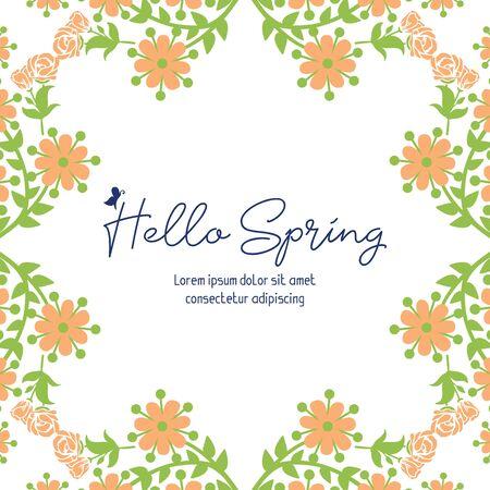 Bonjour printemps lettrage avec cadre floral