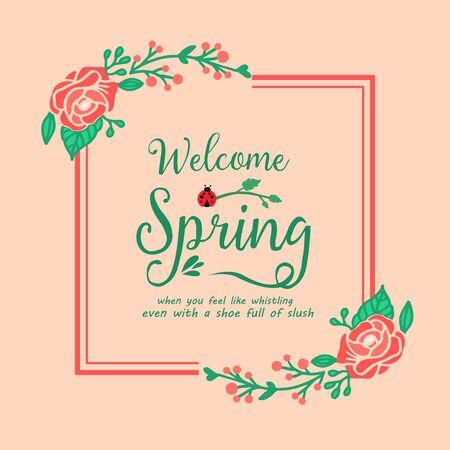Element design of leaves and rose wreath frame, for welcome spring poster design. Vector illustration
