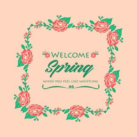 Ornate Pattern of leaf and rose flower frame, for welcome spring elegant greeting card wallpaper design. Vector illustratio