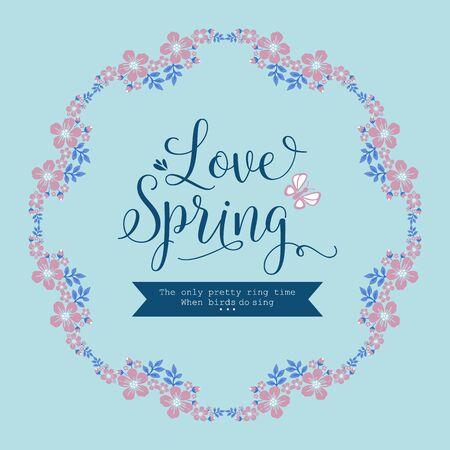 Ornate Pattern of leaf and pink flower frame, for elegant love spring greeting card wallpaper design. Vector illustration