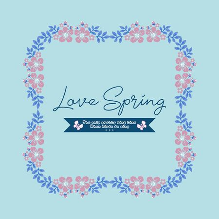 Cute Decorative for love spring greeting card, with elegant pink wreath frame. Vector illustration