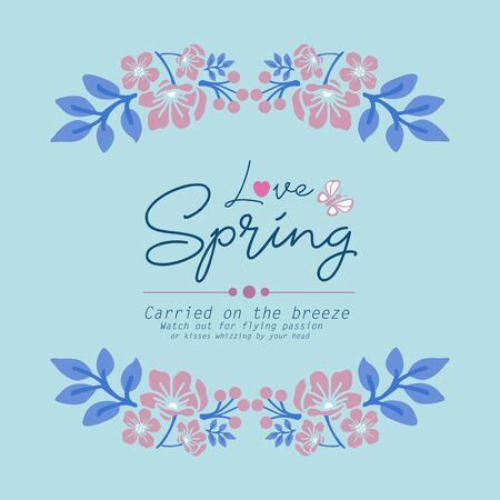 Simple shape of love spring card, with beautiful decoration template of leaf wreath frame. Vector illustration
