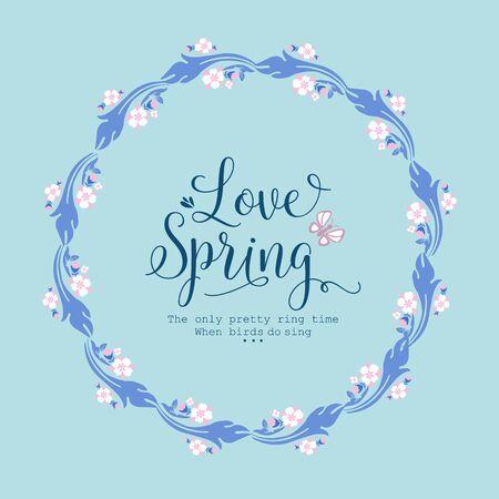 Vintage shape of leaf and floral frame, for love spring card design. Vector illustration Ilustração Vetorial