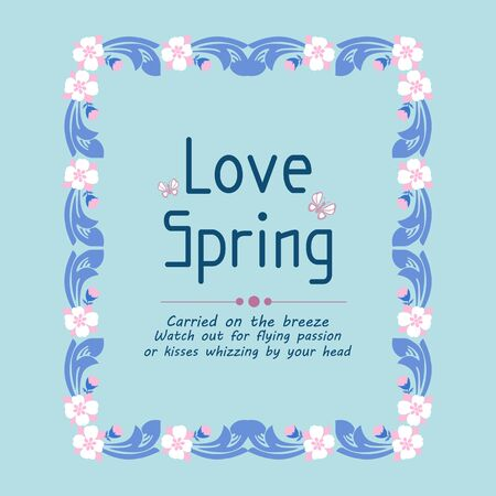 Beautiful Decoration of leaf and floral frame, for love spring greeting card template design. Vector illustration