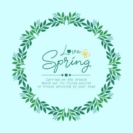 Modern shape of leaf and flower frame, for Love spring greeting card wallpaper design. Vector illustration Vecteurs