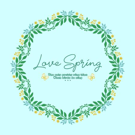 Vintage frame design with ornate leaf and floral, for love spring card design. Vector illustration