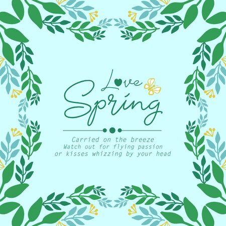 Beautiful Decoration of leaf frame, for Love spring greeting card template design. Vector illustration