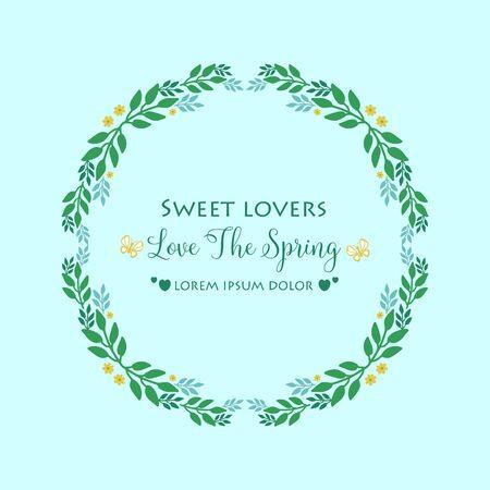 Antique shape Pattern of leaf and floral frame, for love spring card concept. Vector illustration Vecteurs