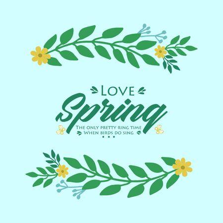 Simple decoration of leaf and floral frame, for unique love spring greeting card template design. Vector illustration