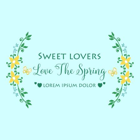 Unique invitation card design for Love Spring, with leaf and flower frame. Vector illustration