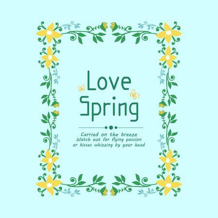 Modern pattern of leaf and flower frame, for love spring invitation card wallpaper decor. Vector illustration