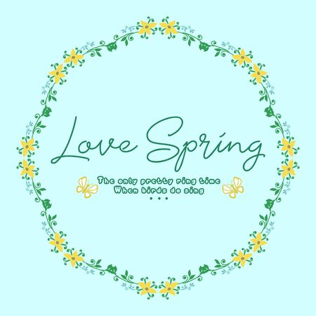 Element art design of leaves and yellow wreath, for love spring invitation card decor. Vector illustration
