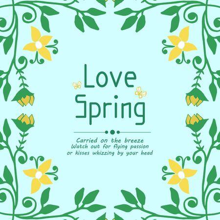 Decoratve of leaf and floral frame, for love spring greeting card template design. Vector illustration