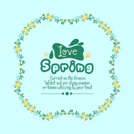 Love spring greeting card design, with leaf and flower simple frame. Vector illustration Vecteurs