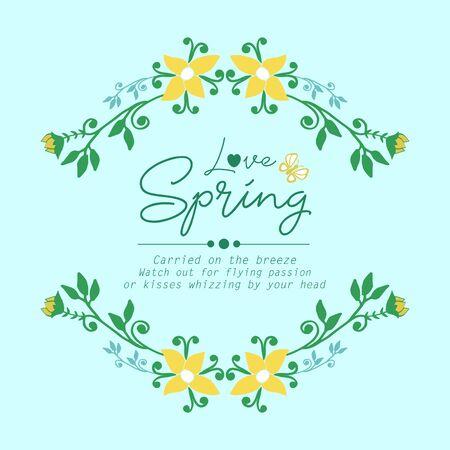 Modern pattern of leaf and flower frame, for love spring invitation card wallpaper decor. Vector illustration Vecteurs