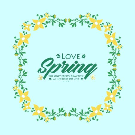 Decorative frame with seamless leaves and flower, for love spring invitation card design. Vector illustration