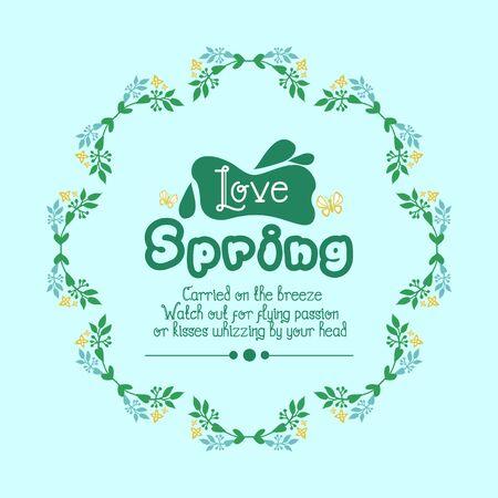 Element design of leaves and wreath frame, for love spring poster design. Vector illustration