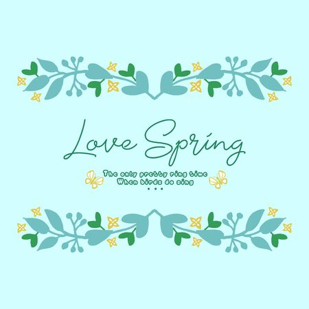 Template design for love spring card, with seamless leaf and floral frame decoration. Vector illustration