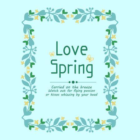 Design of leaf and floral frame, for love spring greeting card template design. Vector illustration