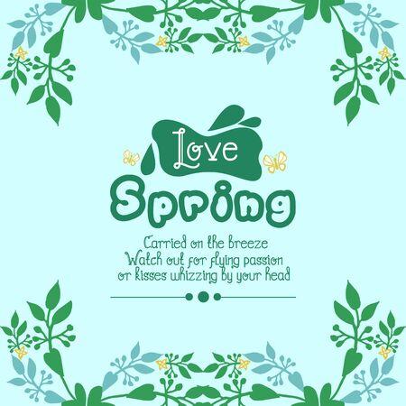 Crowd of beautiful leaf and flower frame, for love spring invitation card design. Vector illustration