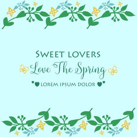 Forme moderne Motif de feuille et cadre floral, pour la conception de modèle de carte de voeux de printemps d'amour. Illustration vectorielle Vecteurs