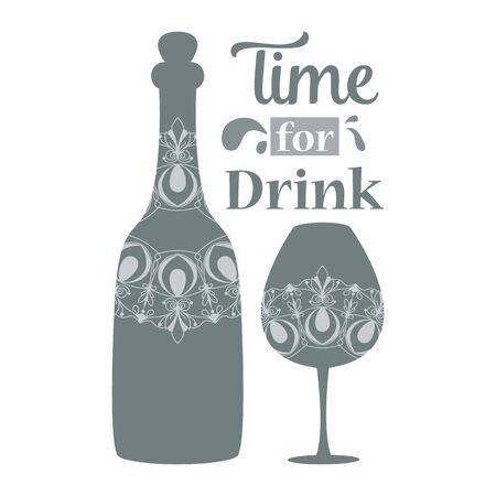 Decoration of mandala Maroko for bottle and glass elegant design. Vector illustration