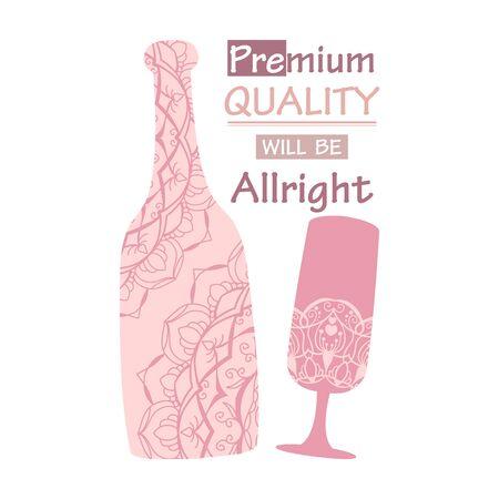Modern design of bottle alcohol and glass. Vector illustration
