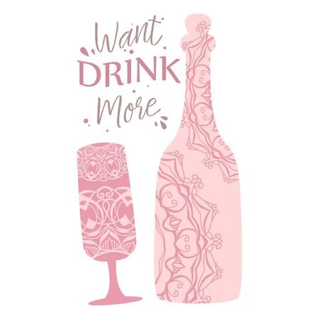 Elegant design of bottle alcohol and glass. Vector illustration